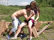 Hardcore screwing a young but willing hottie