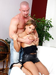 Babe with short hair nailed hard by bald guy