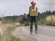 Crazy skating teenager screwing a horny hiker