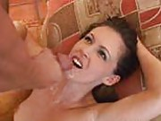 Sexy first timer brunnette babe takes a hot cum bath on camera