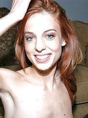 Sexy red headed first timer get creamed on in her interview