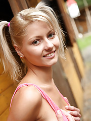 Lovely blond teen June gets naughty on rancho