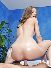 Naughty girl Presley Hart fucks her massage client after giving him a rub down