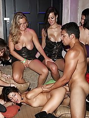 Sexy long leg mini skirt club babes fucked hard in these lesbian group sex cumfaced club parties