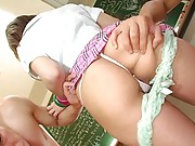 Risa Tsukino Asian with thong in ass hole has ass cheeks touched
