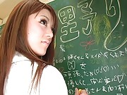 Risa Tsukino Asian is touched under short skirt while writing
