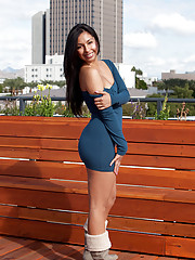 Babe Jenifer Curves shows off her little boobs and shaved pussy on a rooftop