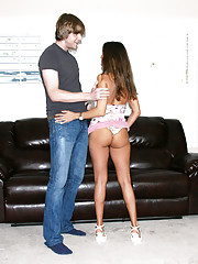 HotWifeRio lifts up her short skirt and lets a  young guy fuck her  tan pussy
