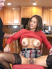 HotWifeRio puts on a pair of  black stockings then gets messy facial from  two cocks