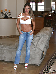 Rio poses in her  tight jeans then has two guys shoot their huge loads on her face