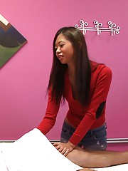 Long leg big tits asian fucked her client on the massage table horny asian caught on cam