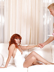 Redhead Anilos cougar gets banged and takes a cum explosion on her feet