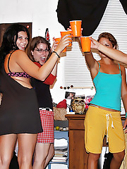 2 hot college babes suck and fuck guys cock in these real amateur fucking group college sex parties