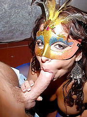 Hot milf gets fucked hard in the club on holloween party