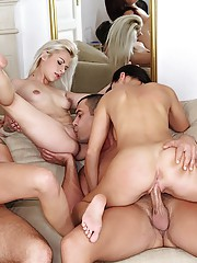 3 hot horny euro fine babes fucked in this anal hard xxx group sex party