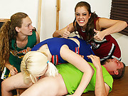 Bratty cheerleaders Barbi Katie and Hailey love a little competition. When they spot young Johnny they decide to have a little competition, to see if they can make him spurt. The three sluts milk his cock dry while they cheer each other on.
