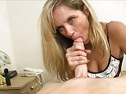 Milf Cami loves it when Billy gets blue balls because that means she gets to stroke his erect big boner! The drunken milf strokes it until he erupts milkly jizm all over her hands and old face