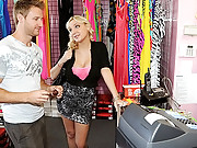 Amazing pink spandex euro babe gets her big tits ass fucked after picked up in a clothing store