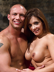Mistress Francesca Le does CFNM, foot worship, OTK spanking, strap-on anal sex and cum eating instructions with muscle boy slaveboy