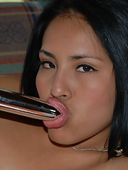 Thalia enjoys her time with a trusty silver vibrator