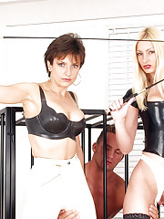 Two british latex riding mistresses