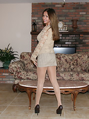 HotWifeRio puts on a pair of sexy pantyhose then sucks off a young guys cock