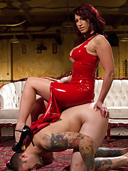 Hot mistress in red wet latex teases, denies then ruins slaveboys orgasms and makes him eat it!