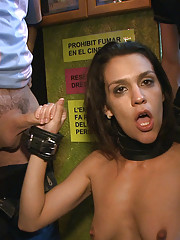 Beautiful Spanish girl is tied up and stripped down in public, then fucked hard and made to jerk off strangers!!!!