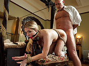 Hot MILF maid ass fucked and punished in bondage!