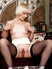 Hot Anilos granny wears stockings as she shows off her naked body