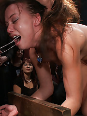 Alysa is made to take an enema in front of a crowd of people then throat fucked until every drop of water squirts across the room! Fisting! Anal sex!