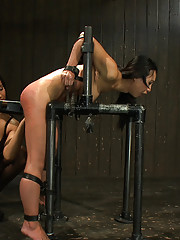 Tia is wrecked and made to cum every last orgasm left in her. Tight belt bondage onto hard cold steel. Isis molests, vibes and fucks them out of her.