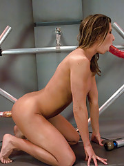 "Muscle & fitness porn star, Ariel X, flexes, stretches, spreads & clenches for her sex machine ""boyfriends"". She does a full throttle DP & squirts"