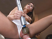Sexy petite babe fucked hard and deep until she hoses the machines with squirt. New machine debut along with this brand newcomer who is so fucking hot