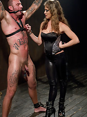 FemDom bitch celebrates her birthday dominating and destroying a tough tattooed slaveboy with a rock hard cock!