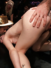 Hot little slut is suspended in the air and fucked by multiple men at a party! Hardcore sex in bondage and public humiliation!