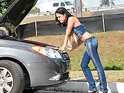 Horny latina car breaks down in the park then fucked hard in the park mouth fucking sucking cumfaced anal sex hot vids