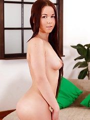 Nymph Lisa Smiles lubes her toy before fucking her fresh shaved pussy