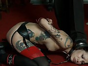 The winner receives an orgasm and the exquisite pleasure of nipple torture. The other two are whipped, strung up in a suspension, and fucked.