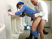 Japanese AV Model sucking dong in the men toilet where she works