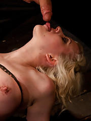 <b>Hot pain slut Cherry Torn gets pinned to the floor by unforgiving metal.</b>