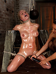 Part 2/4 of Dec. live show with Holly heart:  Elbows bound, knees on hard wood, nipple suction, neck rope, breath play, face fucking, & made to cum!!