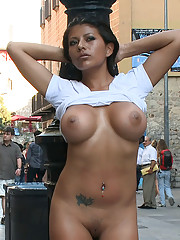 Beautiful tan Latina with giant tits and a round ass is bound and fucked in public!