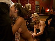 All four slave girls are commanded to entertain the room with an all girl orgy until they are requested for use.