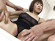 Jun Kusanagi Asian with body in see through lingerie sucks finger