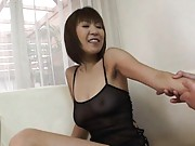 Jun Kusanagi Asian with boobs in see through lingerie is caressed