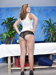 Cute 18 year old massage therapist Sasha gives a little more than a massage!