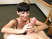 Goth Babe Ivy Reins Gives a Handjob on a Big Cock