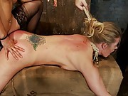 Scene 4/4 from Decembers Live Show: Holly gets anal fucked by Isis Love & her huge strap on from hell, and skull fuck from the Williams. Made to cum!