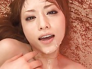 Akiho Yoshizawa busty and with long socks gets sperm on her chin